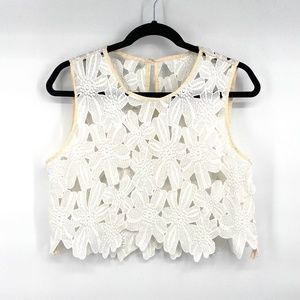 Handmade large floral white lace tank crop top S